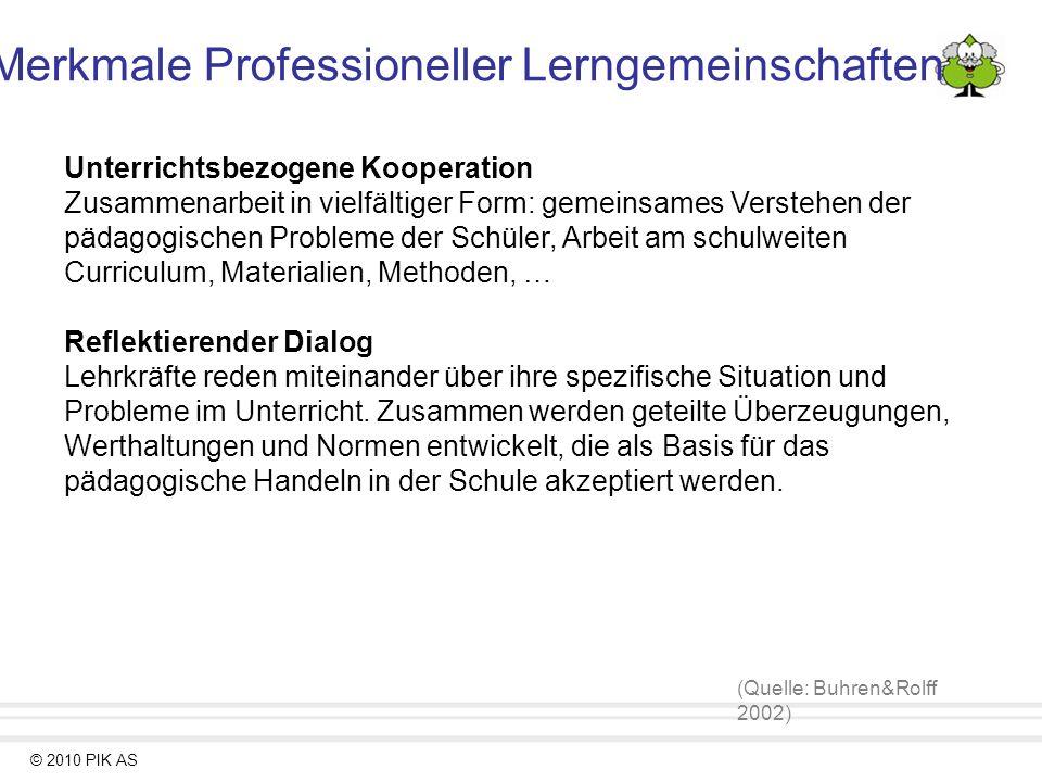© 2010 PIK AS Unterrichtsbezogene Kooperation Zusammenarbeit in vielfältiger Form: gemeinsames Verstehen der pädagogischen Probleme der Schüler, Arbei