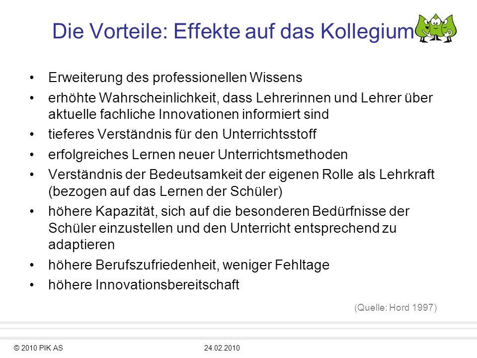 © 2010 PIK AS24.02.2010 Die Vorteile: Effekte auf das Kollegium Erweiterung des professionellen Wissens erhöhte Wahrscheinlichkeit, dass Lehrerinnen u