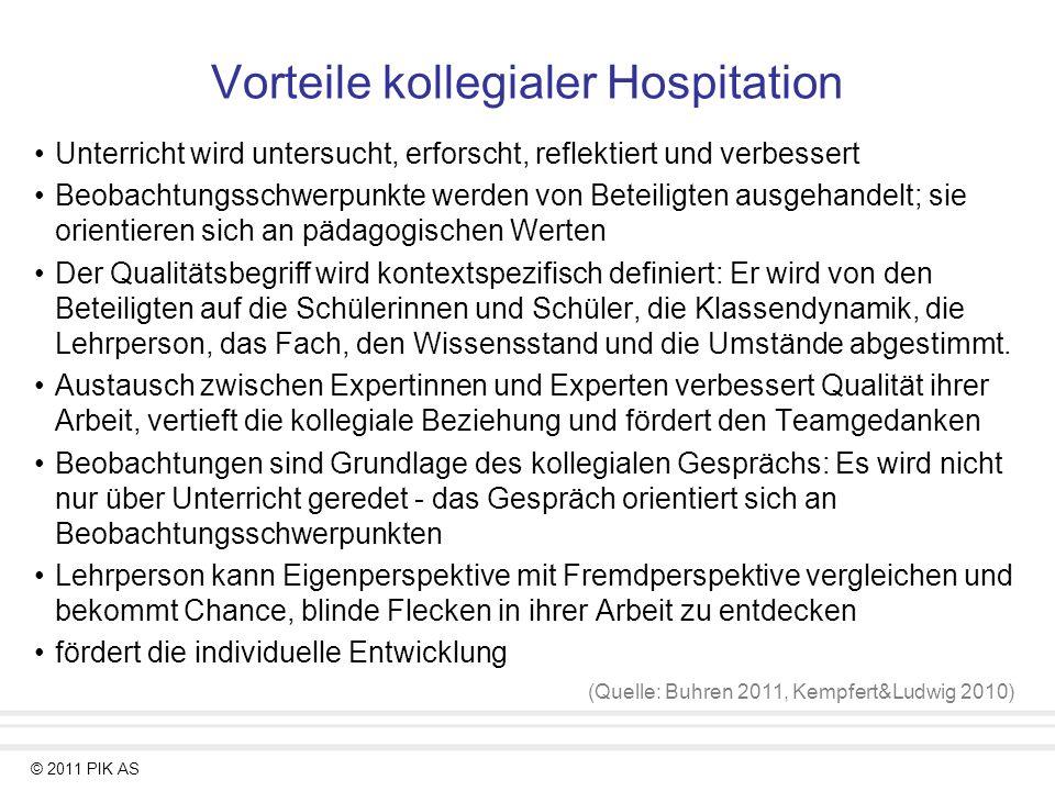 © 2011 PIK AS Vorteile kollegialer Hospitation Unterricht wird untersucht, erforscht, reflektiert und verbessert Beobachtungsschwerpunkte werden von B