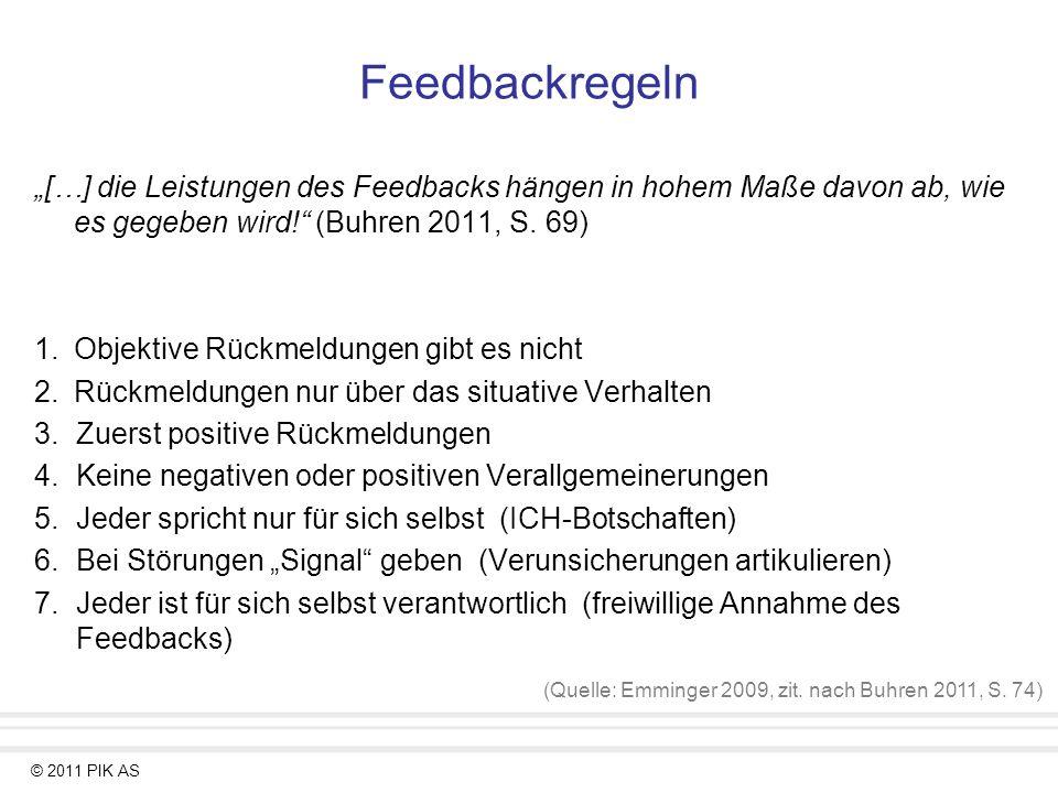 © 2011 PIK AS Feedbackregeln […] die Leistungen des Feedbacks hängen in hohem Maße davon ab, wie es gegeben wird! (Buhren 2011, S. 69) 1.Objektive Rüc