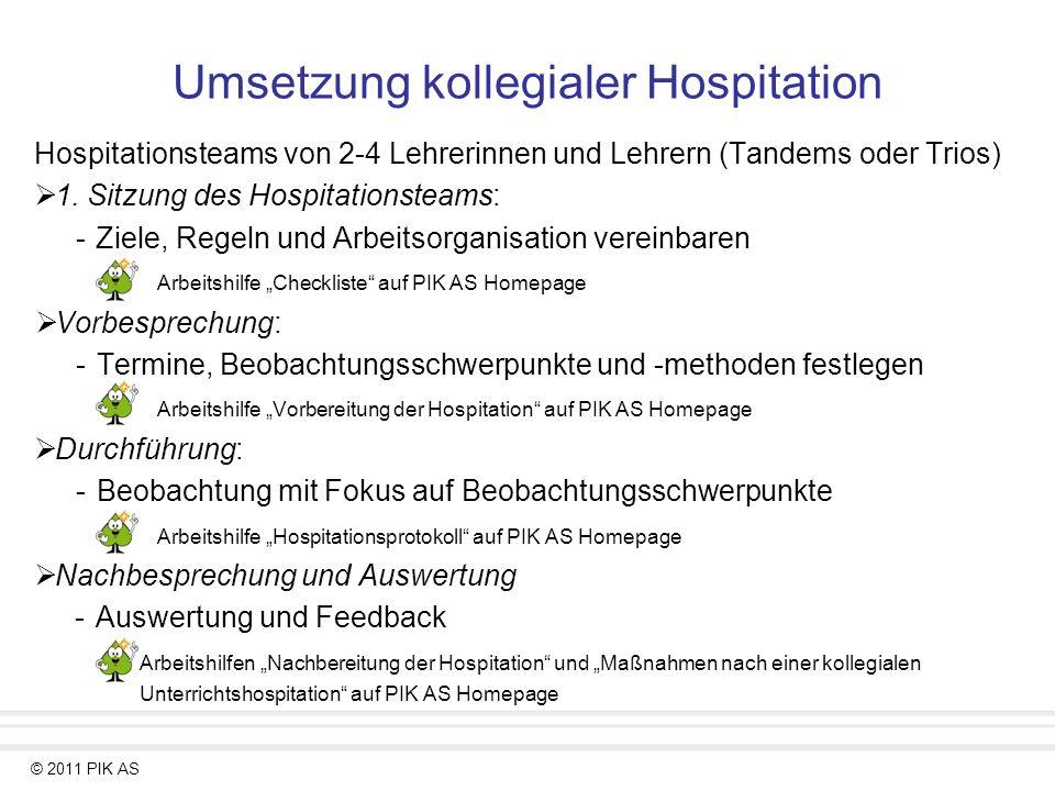 © 2011 PIK AS Umsetzung kollegialer Hospitation Hospitationsteams von 2-4 Lehrerinnen und Lehrern (Tandems oder Trios) 1. Sitzung des Hospitationsteam