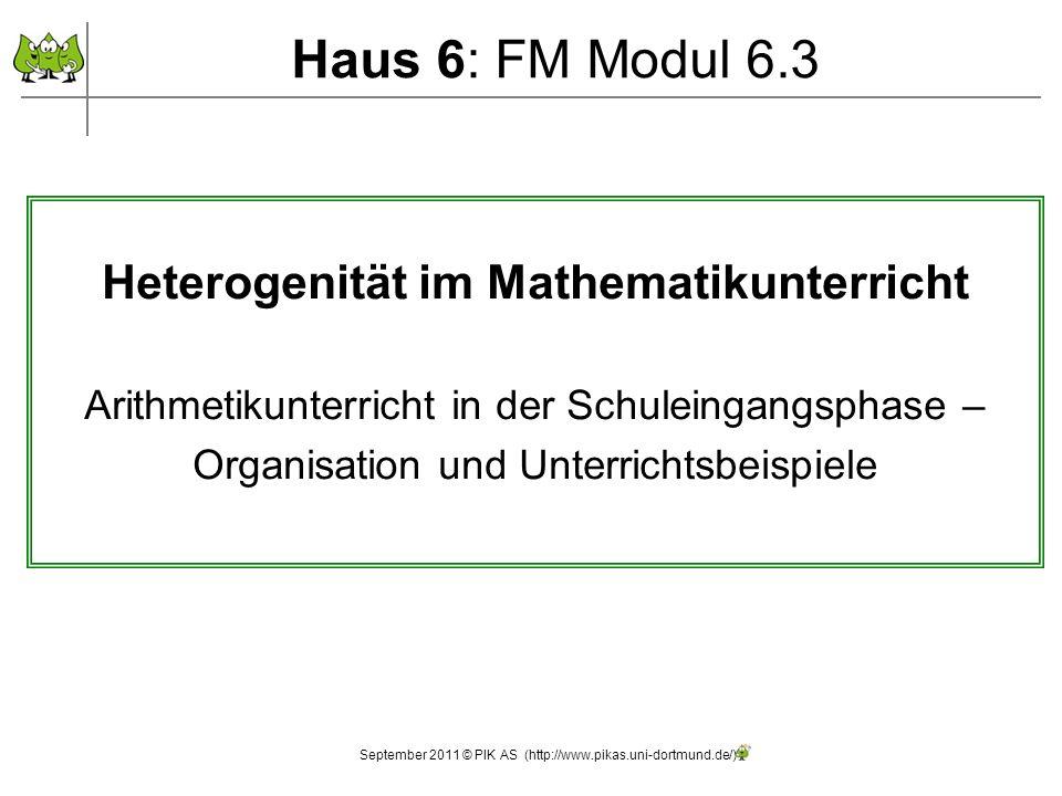 Haus 6: FM Modul 6.3 September 2011 © PIK AS (http://www.pikas.uni-dortmund.de/) Heterogenität im Mathematikunterricht Arithmetikunterricht in der Schuleingangsphase – Organisation und Unterrichtsbeispiele