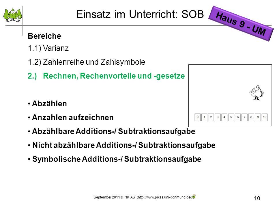 10 Einsatz im Unterricht: SOB Bereiche 1.1) Varianz 1.2) Zahlenreihe und Zahlsymbole 2.) Rechnen, Rechenvorteile und -gesetze Abzählen Anzahlen aufzei