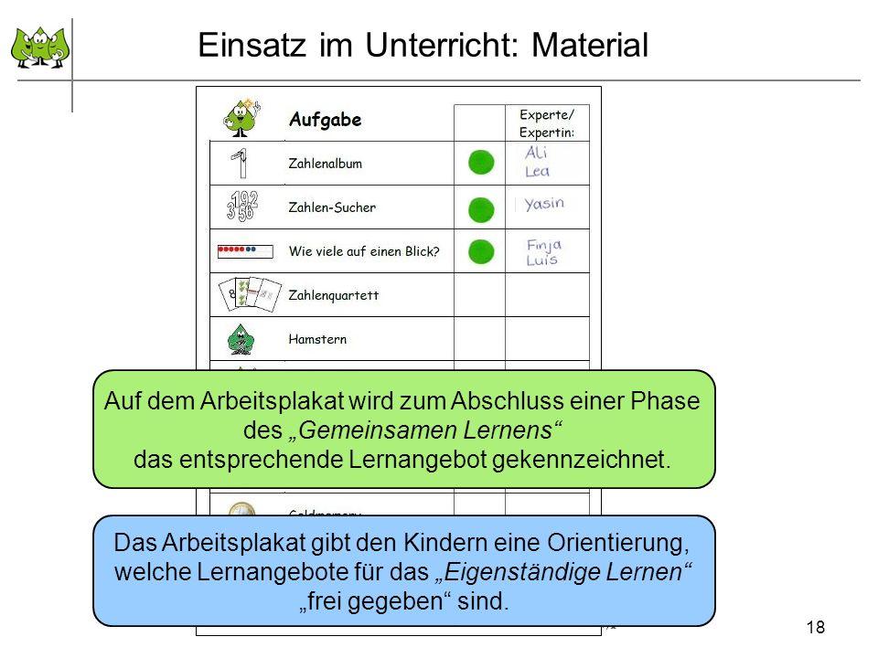 September 2011 © PIK AS (http://www.pikas.uni-dortmund.de/) Einsatz im Unterricht: Material Das Arbeitsplakat gibt den Kindern eine Orientierung, welche Lernangebote für das Eigenständige Lernen frei gegeben sind.