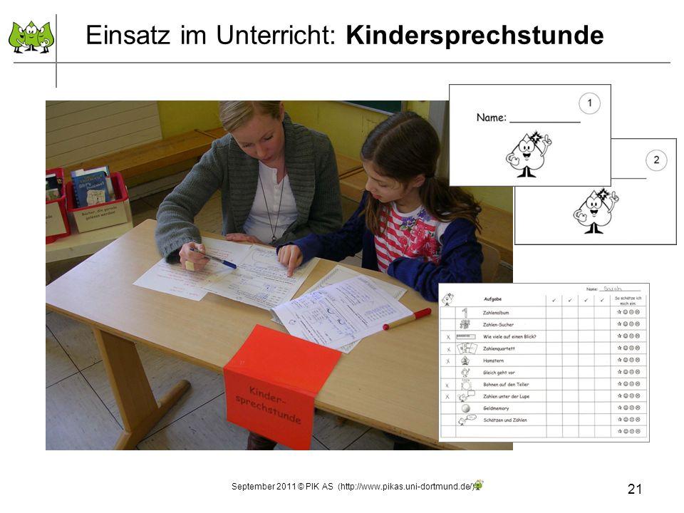 21 Einsatz im Unterricht: Kindersprechstunde September 2011 © PIK AS (http://www.pikas.uni-dortmund.de/)