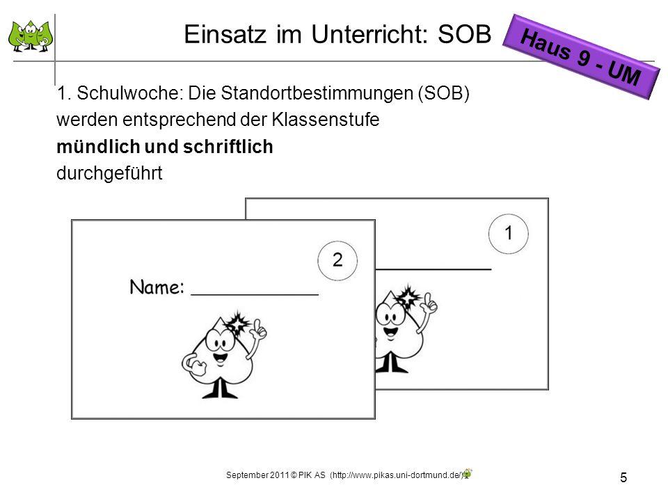 5 1. Schulwoche: Die Standortbestimmungen (SOB) werden entsprechend der Klassenstufe mündlich und schriftlich durchgeführt Einsatz im Unterricht: SOB
