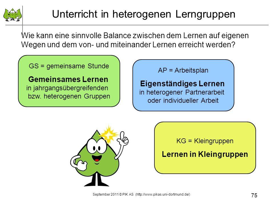 75 Unterricht in heterogenen Lerngruppen Wie kann eine sinnvolle Balance zwischen dem Lernen auf eigenen Wegen und dem von- und miteinander Lernen erreicht werden.