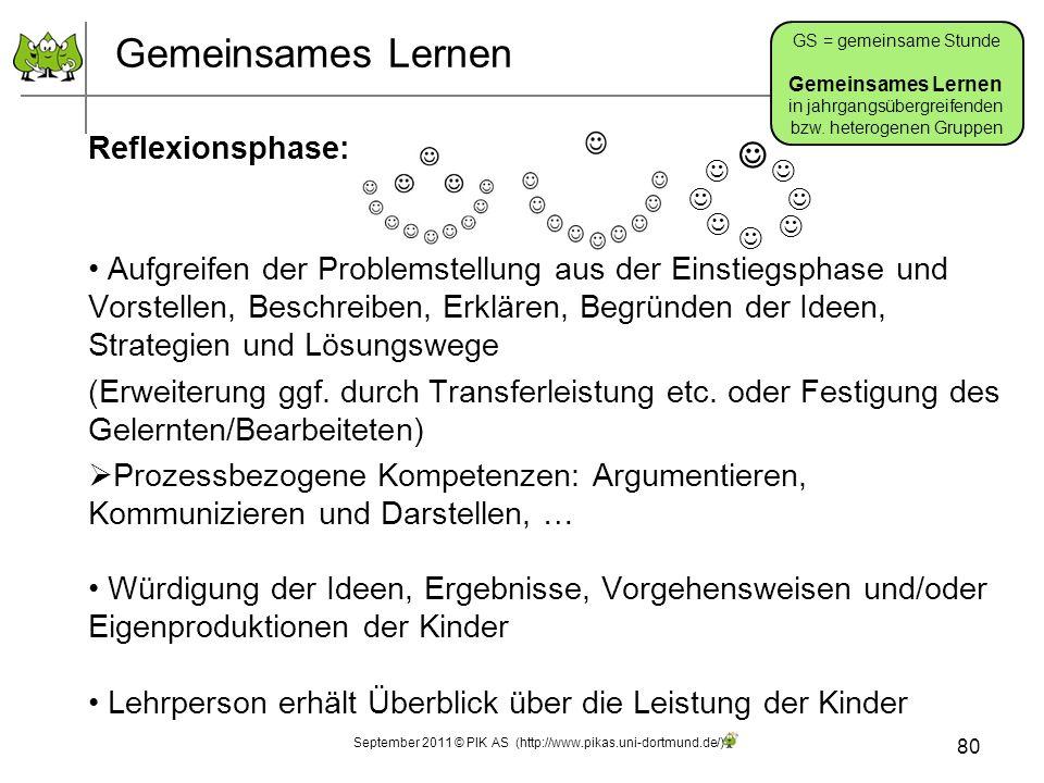 September 2011 © PIK AS (http://www.pikas.uni-dortmund.de/) Gemeinsames Lernen Reflexionsphase: Aufgreifen der Problemstellung aus der Einstiegsphase und Vorstellen, Beschreiben, Erklären, Begründen der Ideen, Strategien und Lösungswege (Erweiterung ggf.