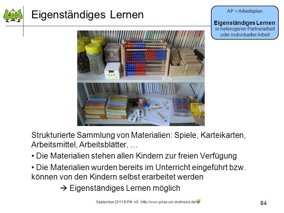 Eigenständiges Lernen Strukturierte Sammlung von Materialien: Spiele, Karteikarten, Arbeitsmittel, Arbeitsblätter, … Die Materialien stehen allen Kind