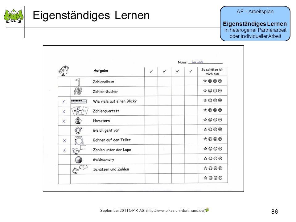 Eigenständiges Lernen 86 AP = Arbeitsplan Eigenständiges Lernen in heterogener Partnerarbeit oder individueller Arbeit September 2011 © PIK AS (http://www.pikas.uni-dortmund.de/)