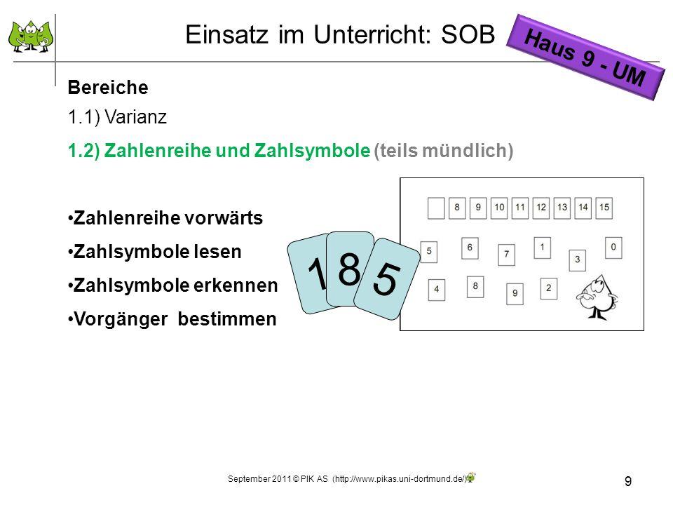 9 Einsatz im Unterricht: SOB Bereiche 1.1) Varianz 1.2) Zahlenreihe und Zahlsymbole (teils mündlich) Zahlenreihe vorwärts Zahlsymbole lesen Zahlsymbol