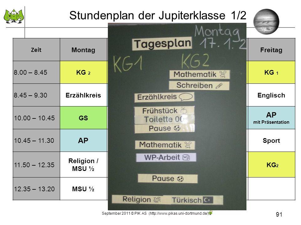 Stundenplan der Jupiterklasse 1/2 91 September 2011 © PIK AS (http://www.pikas.uni-dortmund.de/) Zeit MontagDienstagMittwochDonnerstagFreitag 8.00 – 8.45KG 2 KG 1 KG 2 KG 1 8.45 – 9.30Erzählkreis AP Wörterdetektiv/ Zahlendetektiv Lesestunde/ Blitzrechnen Englisch 10.00 – 10.45GS Sachunterricht GS AP mit Präsentation 10.45 – 11.30 AP Sachunterricht GSSport 11.50 – 12.35 Religion / MSU ½ MusikKunst KG 2 12.35 – 13.20MSU ½Kunst