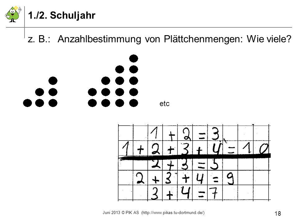 1./2. Schuljahr z. B.:Anzahlbestimmung von Plättchenmengen: Wie viele? etc Juni 2013 © PIK AS (http://www.pikas.tu-dortmund.de/) 18