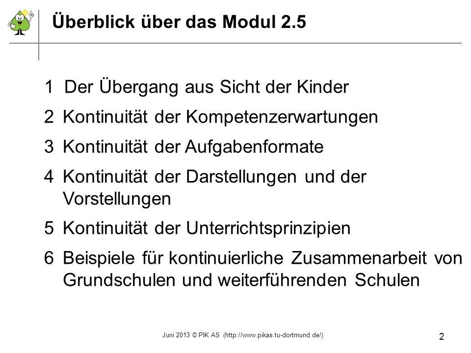 Überblick über das Modul 2.5 1 Der Übergang aus Sicht der Kinder 2Kontinuität der Kompetenzerwartungen 3Kontinuität der Aufgabenformate 4Kontinuität d