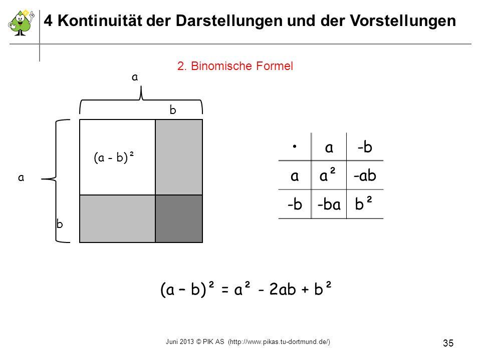 2. Binomische Formel a a b (a - b)² b a-b aa²-ab -b-bab² (a – b)² = a² - 2ab + b² 4 Kontinuität der Darstellungen und der Vorstellungen Juni 2013 © PI