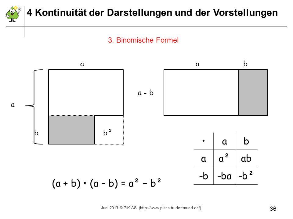 3. Binomische Formel ab aa²ab -b-ba-b² (a + b) (a – b) = a² – b² a a b b² a a - b b 4 Kontinuität der Darstellungen und der Vorstellungen Juni 2013 ©