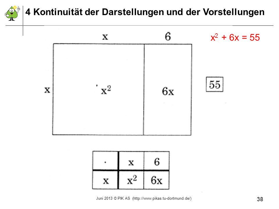 x 2 + 6x = 55 4 Kontinuität der Darstellungen und der Vorstellungen Juni 2013 © PIK AS (http://www.pikas.tu-dortmund.de/) 38