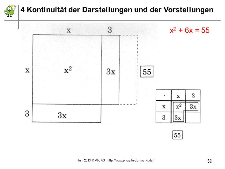 x 2 + 6x = 55 4 Kontinuität der Darstellungen und der Vorstellungen Juni 2013 © PIK AS (http://www.pikas.tu-dortmund.de/) 39