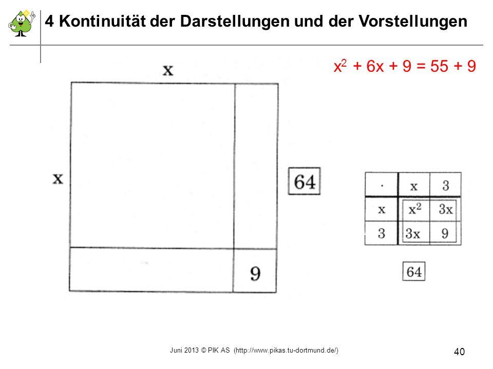 x 2 + 6x + 9 = 55 + 9 4 Kontinuität der Darstellungen und der Vorstellungen Juni 2013 © PIK AS (http://www.pikas.tu-dortmund.de/) 40