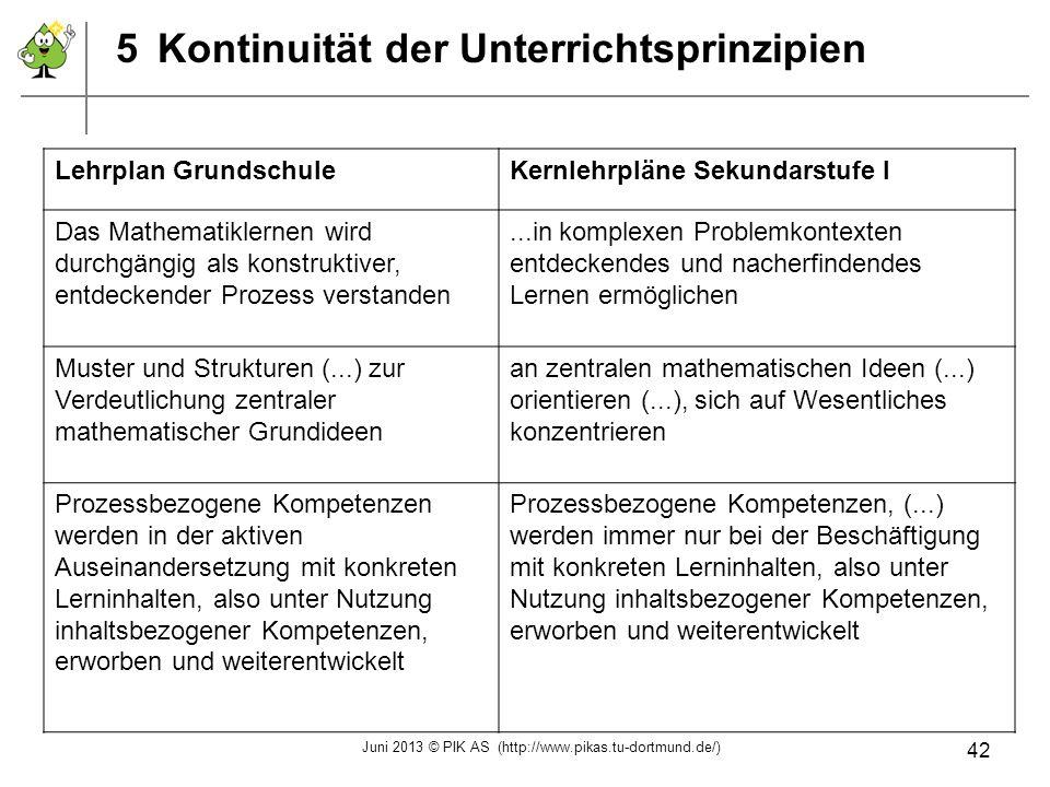 5Kontinuität der Unterrichtsprinzipien Lehrplan GrundschuleKernlehrpläne Sekundarstufe I Das Mathematiklernen wird durchgängig als konstruktiver, entd
