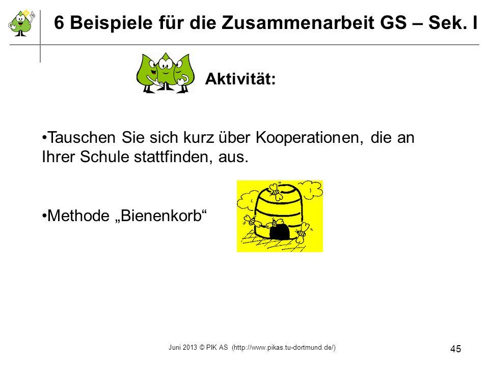 6 Beispiele für die Zusammenarbeit GS – Sek. I Aktivität: Tauschen Sie sich kurz über Kooperationen, die an Ihrer Schule stattfinden, aus. Methode Bie
