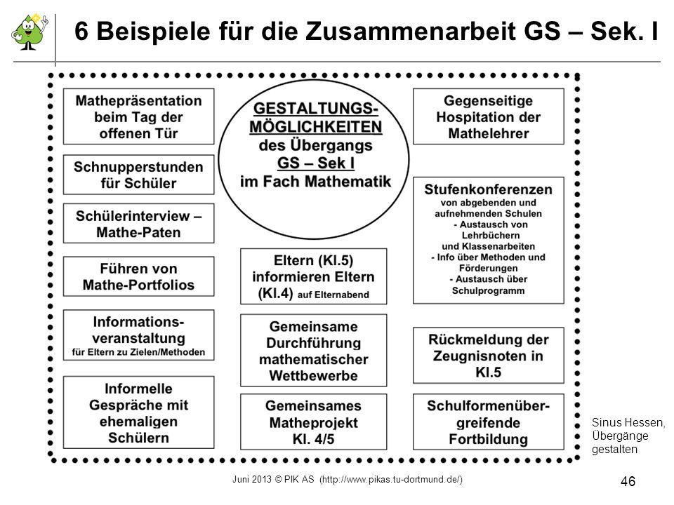 6 Beispiele für die Zusammenarbeit GS – Sek. I Sinus Hessen, Übergänge gestalten Juni 2013 © PIK AS (http://www.pikas.tu-dortmund.de/) 46
