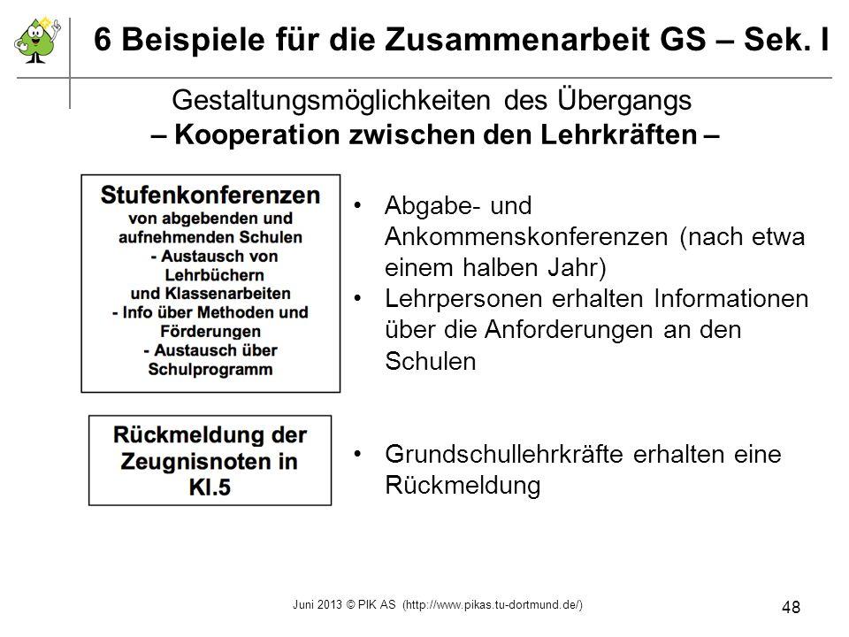 6 Beispiele für die Zusammenarbeit GS – Sek. I Gestaltungsmöglichkeiten des Übergangs – Kooperation zwischen den Lehrkräften – Abgabe- und Ankommensko