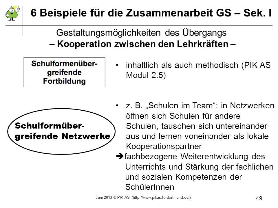 6 Beispiele für die Zusammenarbeit GS – Sek. I inhaltlich als auch methodisch (PIK AS Modul 2.5) z. B. Schulen im Team: in Netzwerken öffnen sich Schu
