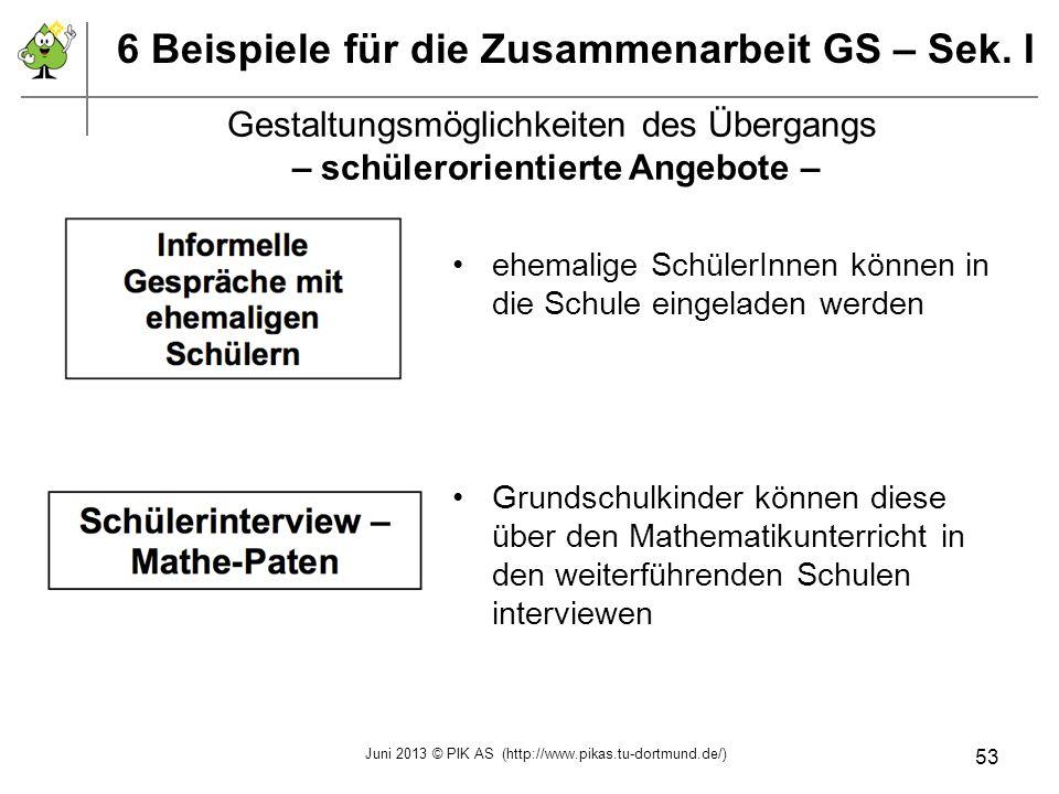 6 Beispiele für die Zusammenarbeit GS – Sek. I ehemalige SchülerInnen können in die Schule eingeladen werden Grundschulkinder können diese über den Ma