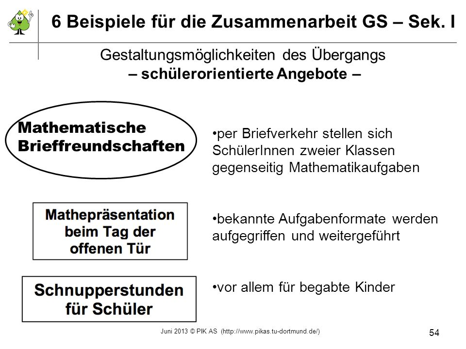 6 Beispiele für die Zusammenarbeit GS – Sek. I per Briefverkehr stellen sich SchülerInnen zweier Klassen gegenseitig Mathematikaufgaben bekannte Aufga