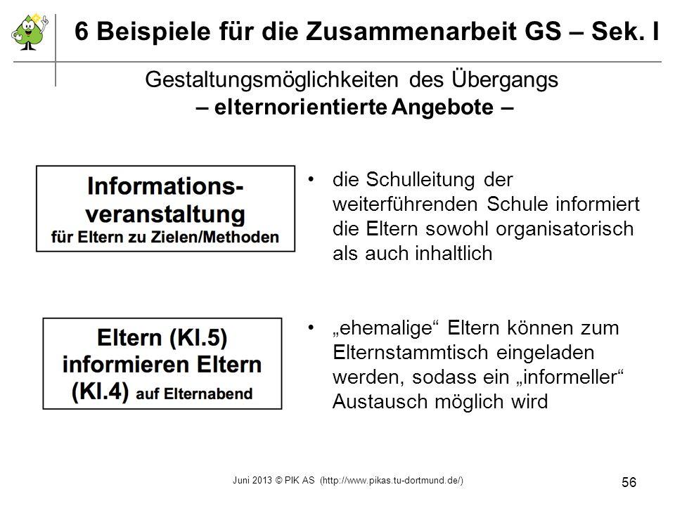 6 Beispiele für die Zusammenarbeit GS – Sek. I Gestaltungsmöglichkeiten des Übergangs – elternorientierte Angebote – die Schulleitung der weiterführen