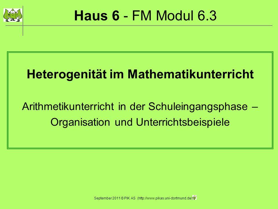 Heterogenität im Mathematikunterricht Arithmetikunterricht in der Schuleingangsphase – Organisation und Unterrichtsbeispiele Haus 6 - FM Modul 6.3 Sep