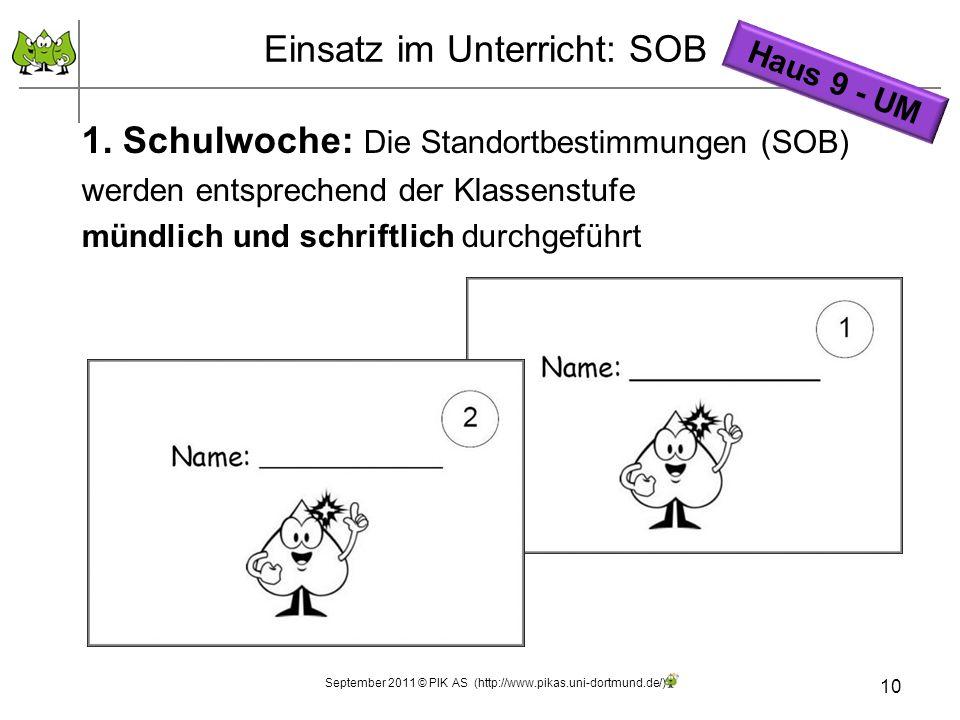 10 1. Schulwoche: Die Standortbestimmungen (SOB) werden entsprechend der Klassenstufe mündlich und schriftlich durchgeführt Einsatz im Unterricht: SOB