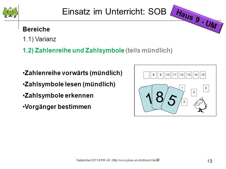 13 Einsatz im Unterricht: SOB Bereiche 1.1) Varianz 1.2) Zahlenreihe und Zahlsymbole (teils mündlich) Zahlenreihe vorwärts (mündlich) Zahlsymbole lese