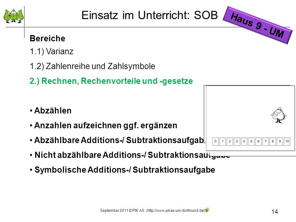 14 Einsatz im Unterricht: SOB Bereiche 1.1) Varianz 1.2) Zahlenreihe und Zahlsymbole 2.) Rechnen, Rechenvorteile und -gesetze Abzählen Anzahlen aufzei