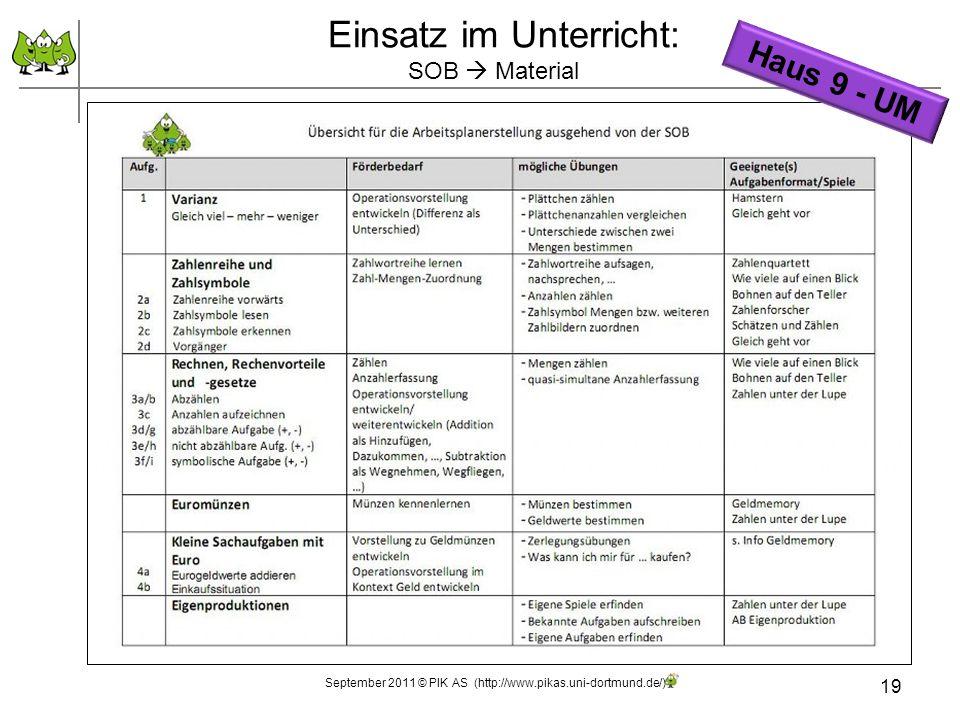 19 Einsatz im Unterricht: SOB Material September 2011 © PIK AS (http://www.pikas.uni-dortmund.de/) Haus 9 - UM