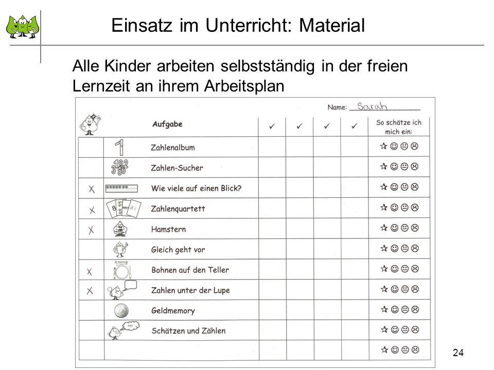 24 Alle Kinder arbeiten selbstständig in der freien Lernzeit an ihrem Arbeitsplan Einsatz im Unterricht: Material