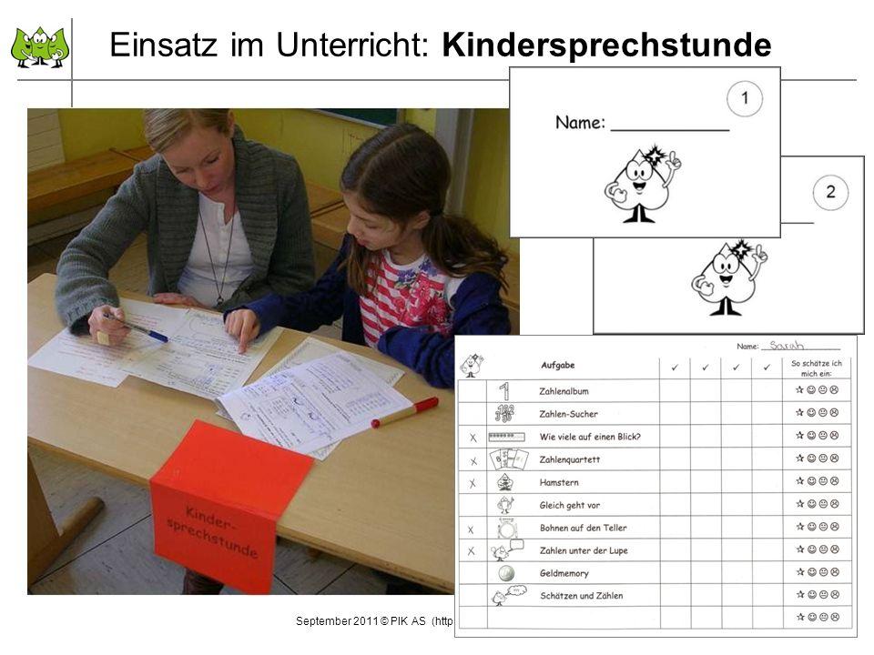25 September 2011 © PIK AS (http://www.pikas.uni-dortmund.de/) 25 Einsatz im Unterricht: Kindersprechstunde