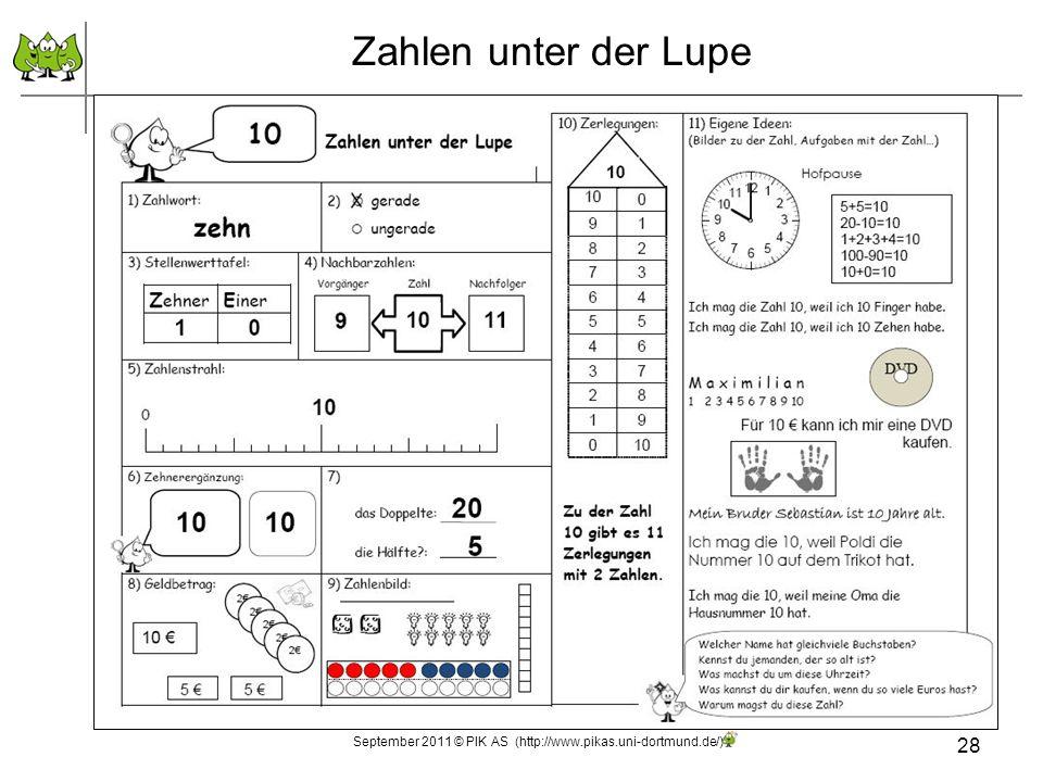 Zahlen unter der Lupe September 2011 © PIK AS (http://www.pikas.uni-dortmund.de/) 28