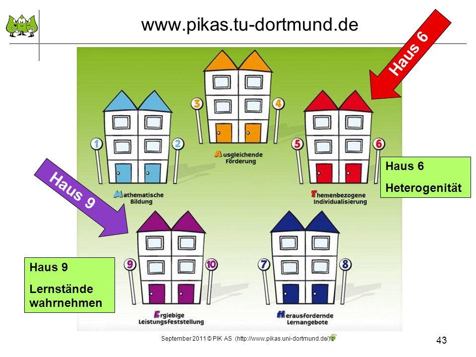 43 www.pikas.tu-dortmund.de Haus 6 Heterogenität Haus 9 Lernstände wahrnehmen Haus 9 September 2011 © PIK AS (http://www.pikas.uni-dortmund.de/)