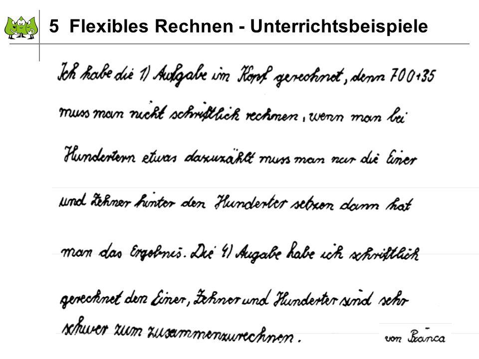 Dezember 2011 © PIK AS (http://www.pikas.uni-dortmund.de) 13 5 Flexibles Rechnen - Unterrichtsbeispiele
