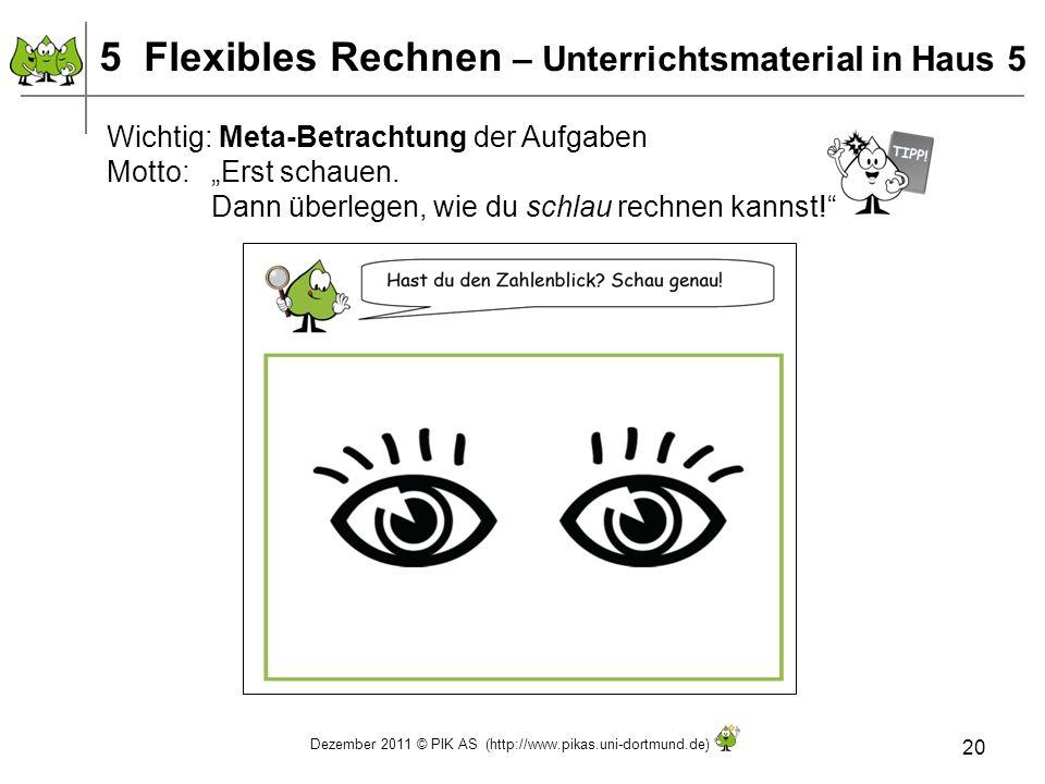 Dezember 2011 © PIK AS (http://www.pikas.uni-dortmund.de) 20 Wichtig: Meta-Betrachtung der Aufgaben Motto: Erst schauen. Dann überlegen, wie du schlau