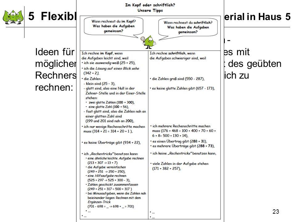 Dezember 2011 © PIK AS (http://www.pikas.uni-dortmund.de) 23 5 Flexibles Rechnen – Unterrichtsmaterial in Haus 5 Mögliche objektive Kriterien - Ideen