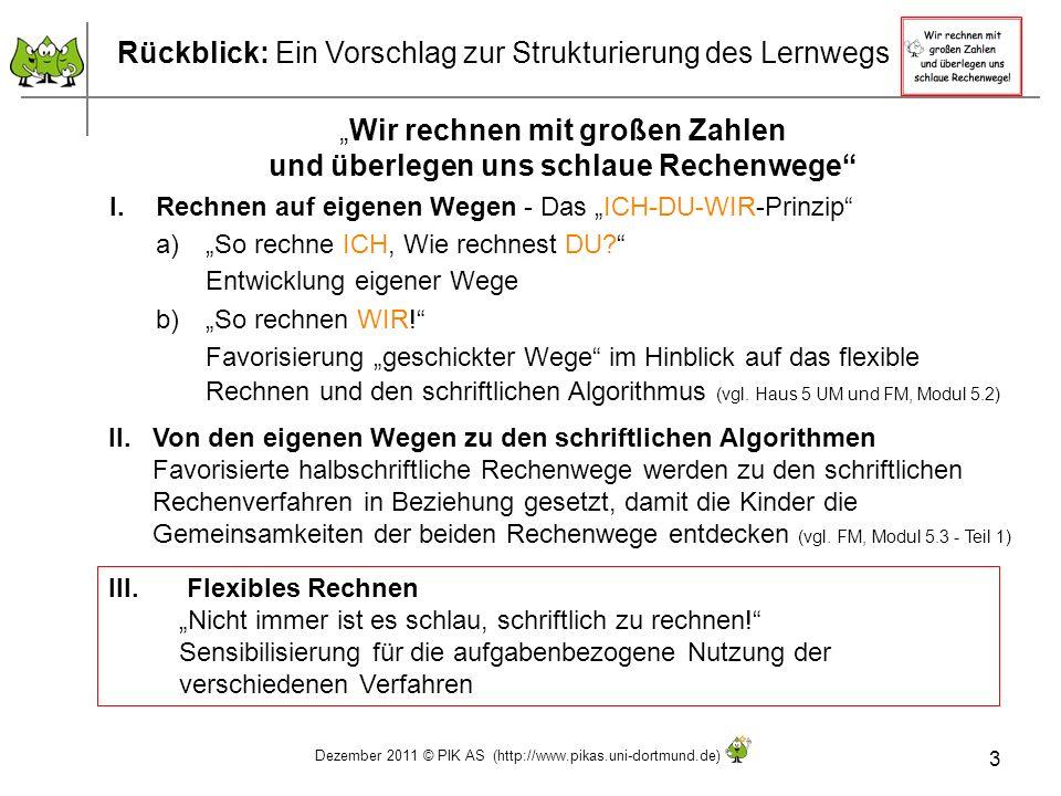Dezember 2011 © PIK AS (http://www.pikas.uni-dortmund.de) 3 Rückblick: Ein Vorschlag zur Strukturierung des Lernwegs Wir rechnen mit großen Zahlen und