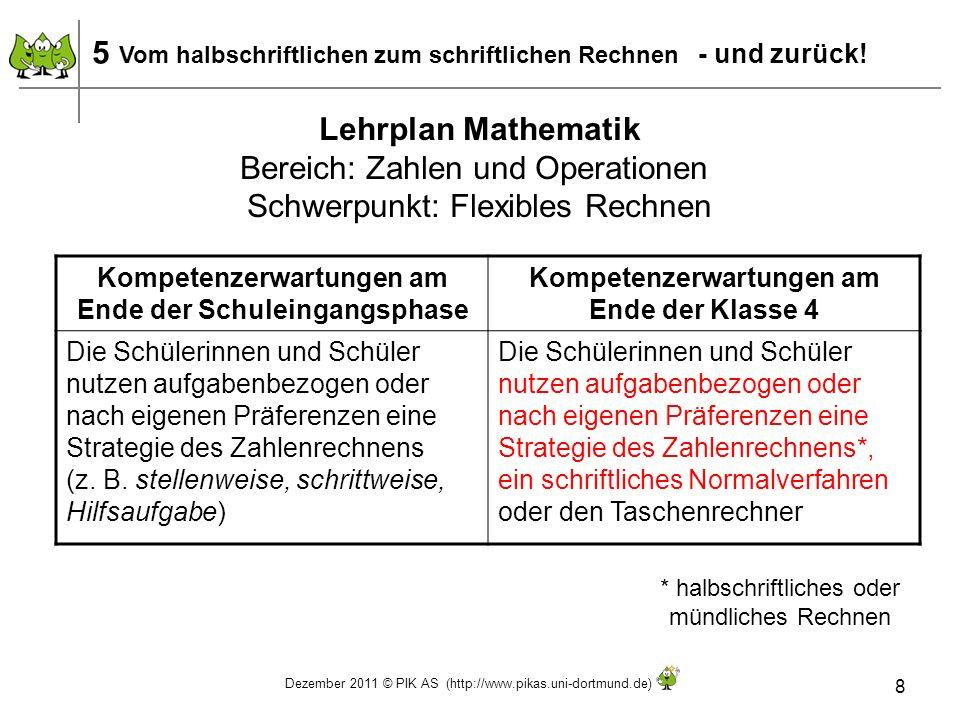 Dezember 2011 © PIK AS (http://www.pikas.uni-dortmund.de) 8 Lehrplan Mathematik Bereich: Zahlen und Operationen Schwerpunkt: Flexibles Rechnen 5 Vom h
