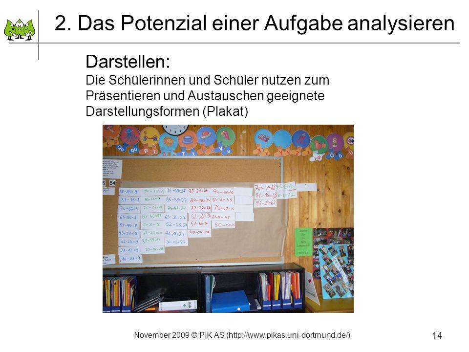 14 2. Das Potenzial einer Aufgabe analysieren Darstellen: Die Schülerinnen und Schüler nutzen zum Präsentieren und Austauschen geeignete Darstellungsf