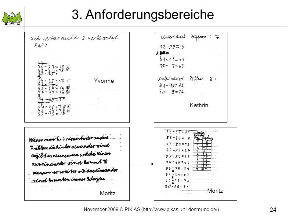 24 3. Anforderungsbereiche Yvonne Moritz Kathrin Moritz November 2009 © PIK AS (http://www.pikas.uni-dortmund.de/)