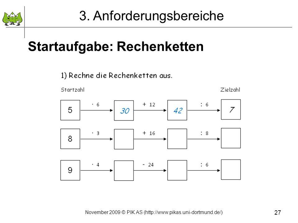 27 Startaufgabe: Rechenketten 3. Anforderungsbereiche November 2009 © PIK AS (http://www.pikas.uni-dortmund.de/)