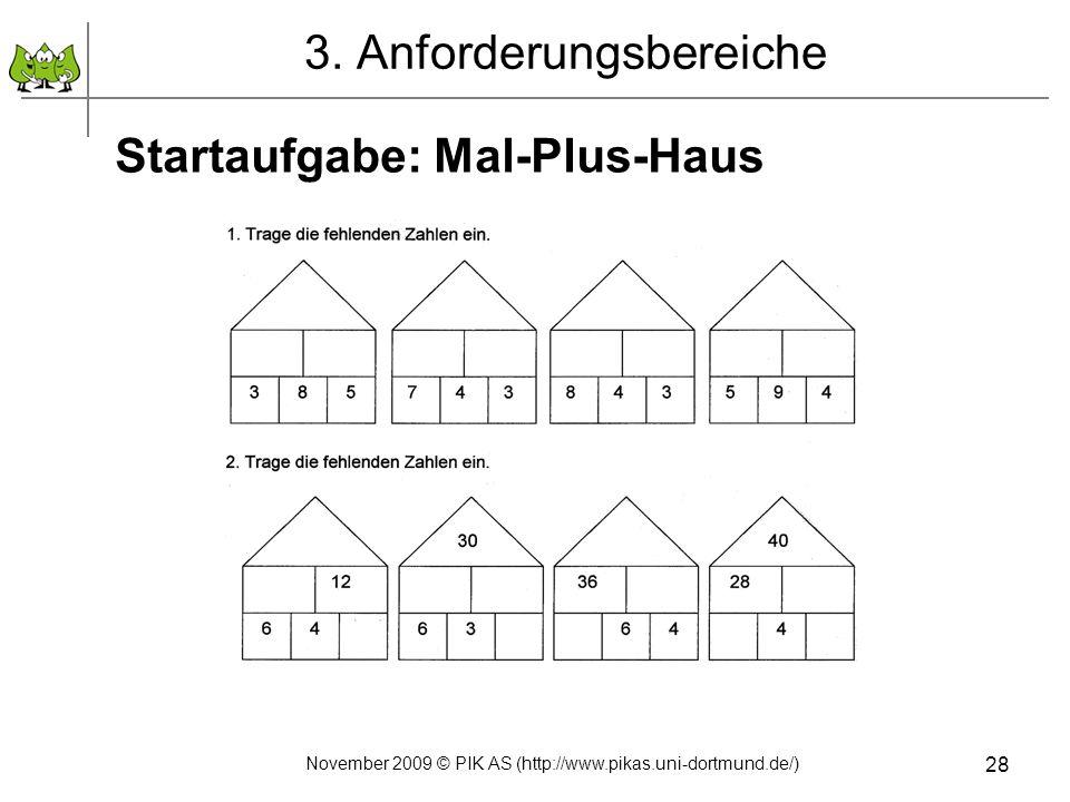 28 3. Anforderungsbereiche Startaufgabe: Mal-Plus-Haus November 2009 © PIK AS (http://www.pikas.uni-dortmund.de/)
