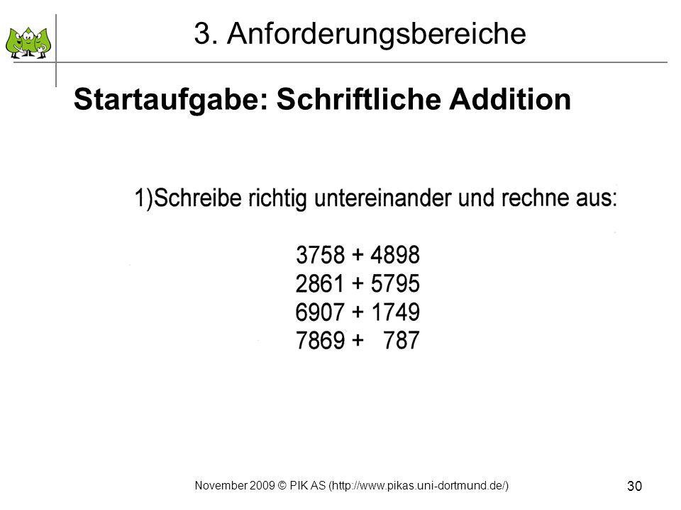 30 3. Anforderungsbereiche Startaufgabe: Schriftliche Addition November 2009 © PIK AS (http://www.pikas.uni-dortmund.de/)